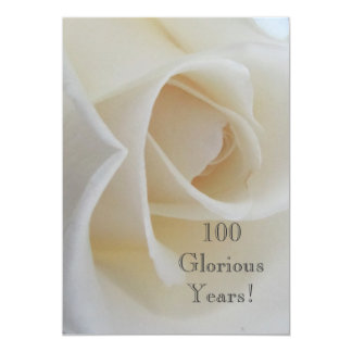100 GloriousYears!-Birthday Celebration/White Rose 13 Cm X 18 Cm Invitation Card