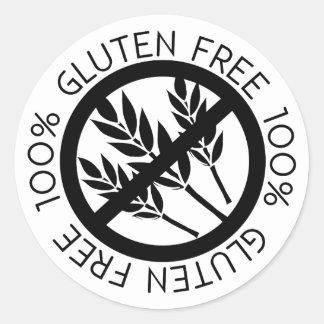 100% Gluten Free No Gluten Simple Black and White Round Sticker