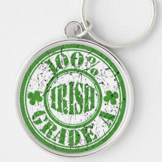 100% GRADE A IRISH Distressed Stamp Keychain Silver-Colored Round Keychain