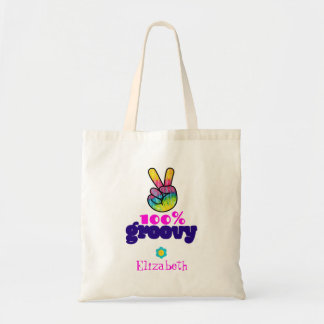 100% Groovy Rainbow Hand Peace Sign Personalized
