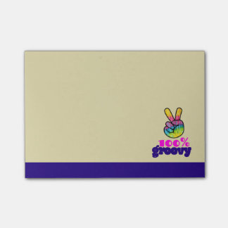 100% Groovy Rainbow Hand Peace Sign Post-it Notes