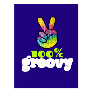 100% Groovy Rainbow Hand Peace Sign Postcard