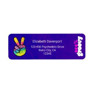 100% Groovy Rainbow Hand Peace Sign Return Address Label
