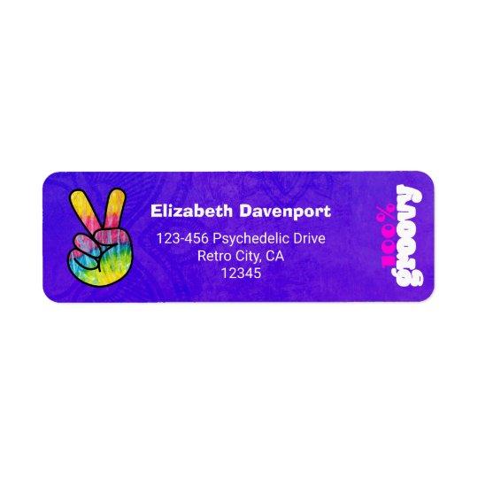 100% Groovy Rainbow Hand Peace Sign Return Address Label