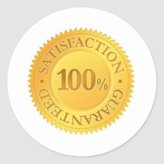 100% Guarantee Round Sticker