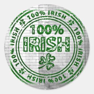 100% Irish Graffiti Wall Round Sticker