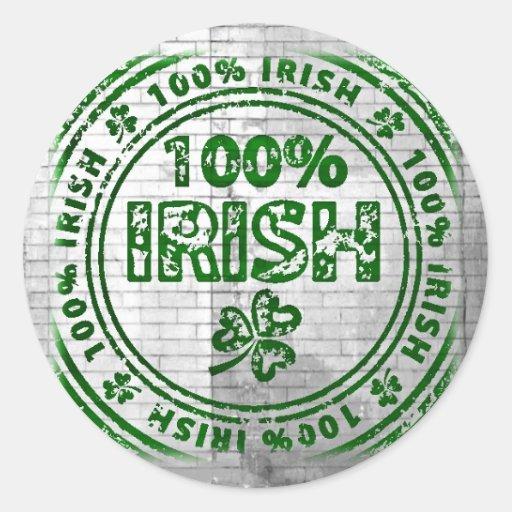100% Irish Graffiti Wall Round Stickers