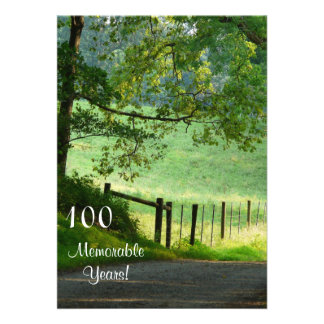 100 Memorable Years Birthday Celebration-Landscape Personalized Invites