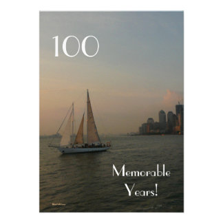 100 Memorable Years Birthday-Sailboat-Male Announcements