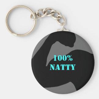 100% Natty Body Bicep Basic Round Button Key Ring