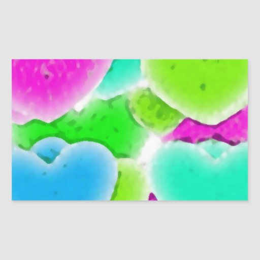 100 NEON FADING GREEN PINK BLUE HEARTS PATTERN GRA RECTANGULAR STICKER