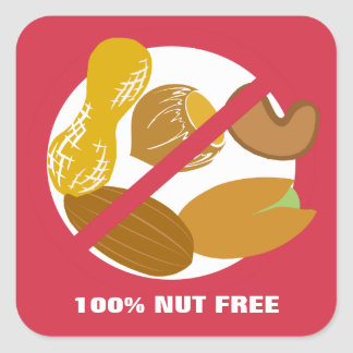 100% Nut Free Food Allergy Alert Stickers