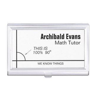 100 percent 90 degrees funny math tutor business card holder