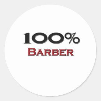 100 Percent Barber Classic Round Sticker