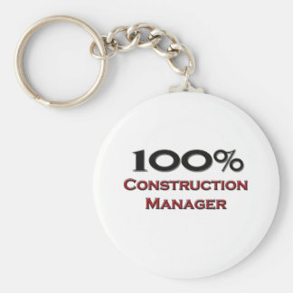 100 Percent Construction Manager Basic Round Button Key Ring