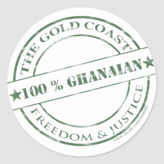 100 percent ghanaian amazon round sticker