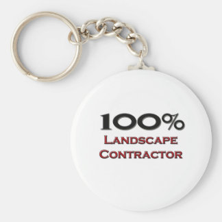 100 Percent Landscape Contractor Basic Round Button Key Ring
