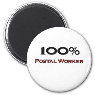 100 Percent Postal Worker 6 Cm Round Magnet