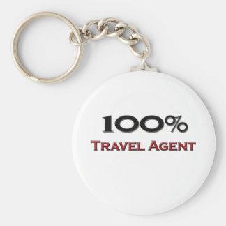 100 Percent Travel Agent Basic Round Button Key Ring