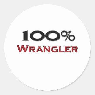 100 Percent Wrangler Classic Round Sticker