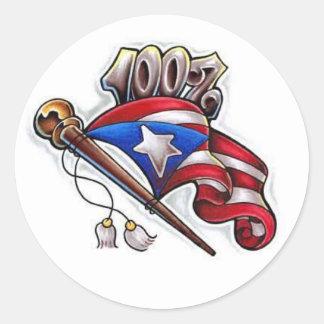 100% puertorican classic round sticker