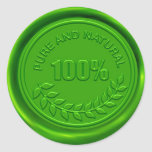 100% Pure & Natural Wax Seal Classic Round Sticker