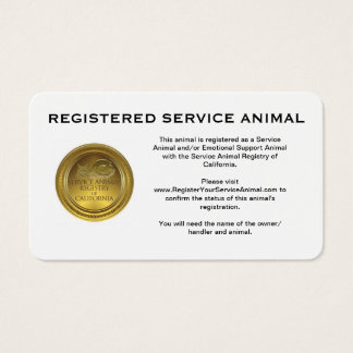 100 Registered Service Animal Business Cards