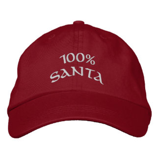 100% Santa Embroidered Baseball Caps