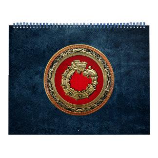 [100] Serpent God Quetzalcoatl [Gold] Wall Calendar