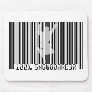 100% SNOWBOARDER 2 black barcode Mouse Pad