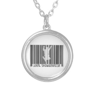 100% SNOWBOARDER 2 black barcode Silver Plated Necklace