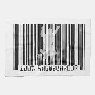 100% SNOWBOARDER 2 black barcode Tea Towel
