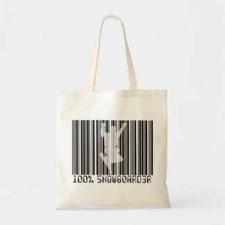 100% SNOWBOARDER 2 black barcode Tote Bag