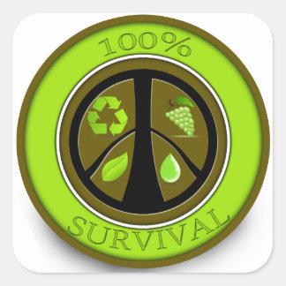 100% Survival Prepper Eco Design Square Sticker