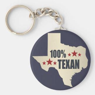100% Texan Basic Round Button Key Ring