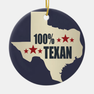 100% Texan Round Ceramic Decoration