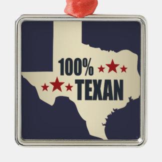 100% Texan Silver-Colored Square Decoration