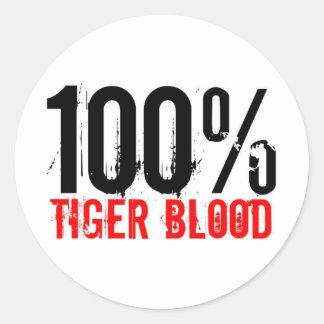 100% Tiger Blood Round Sticker