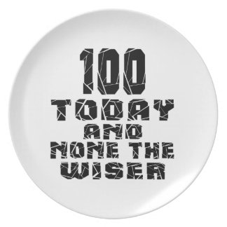 100 Today And None The Wiser Party Plate