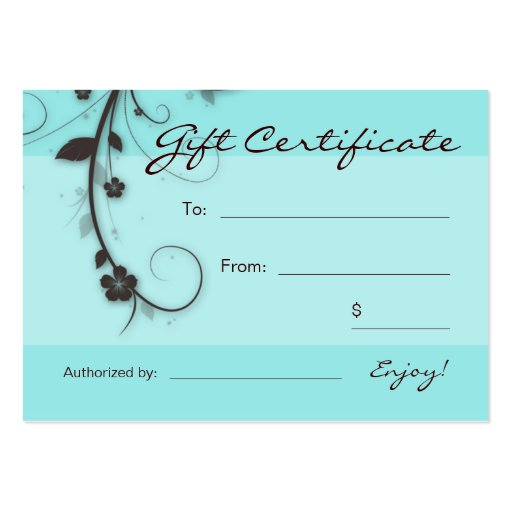/100 Turquoise blue brown Floral Swirls Gift Card Pack Of Chubby Business Cards