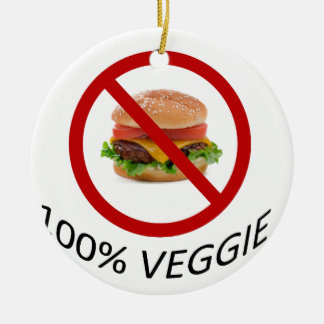"""""""100% Veggie"""" Round Ceramic Decoration"""