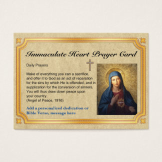 100 x Immaculate Heart Prayer Cards Personalized