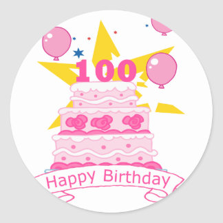 100 Year Old Birthday Cake Round Sticker