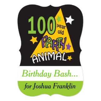 100 Year Old Party Animal - 100th Birthday 13 Cm X 18 Cm Invitation Card