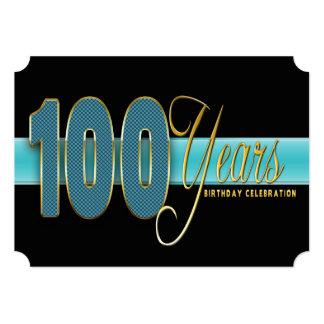 100 YEARS BIRTHDAY PARTY INVITATION AQUA/BLACK