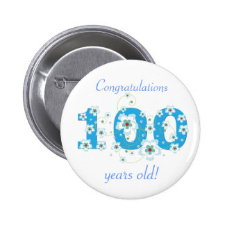 100 years old birthday congratulations button