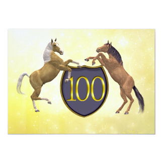 100 years old birthday party rearing horses 13 cm x 18 cm invitation card
