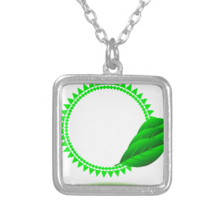 100Green Icon_rasterized Silver Plated Necklace
