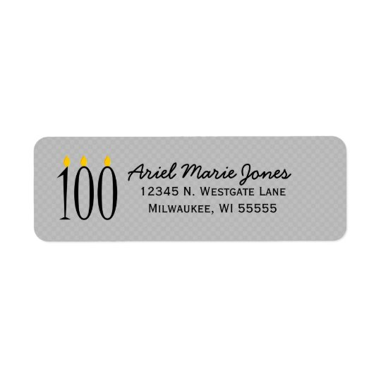 100th Birthday Candles Grey Address Labels