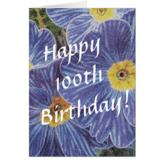 100th Birthday card with blue flowers